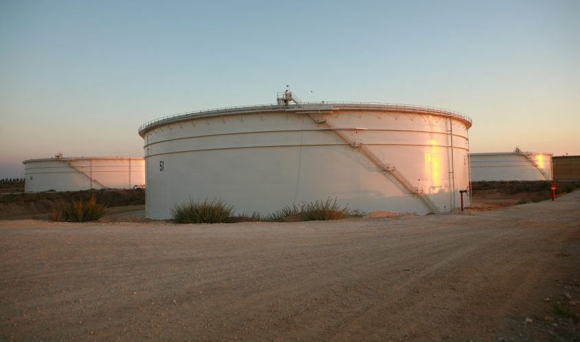 """An oil tank in the Katza compound""""A"""