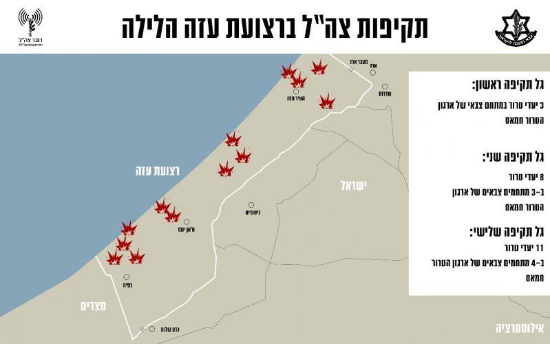 """מפת תקיפות צה""""ל ברצועת עזה"""