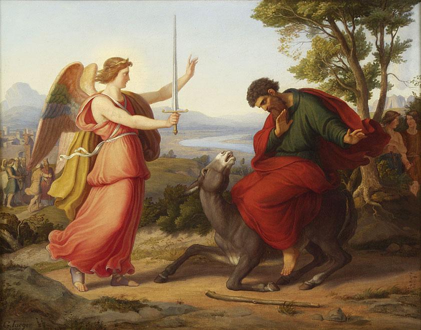 המלאך, בלעם ואתונו. באדיבות ויקיפדיה ציורו של גוסטב ז'אגר, 1836