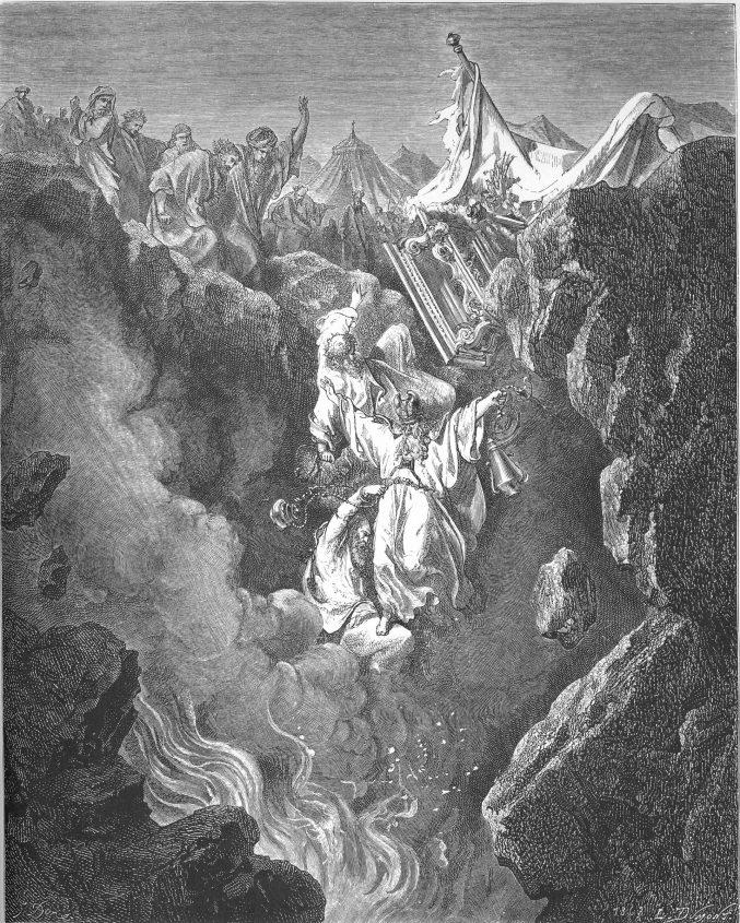 קורח ועדתו נבלעים באדמה. איור: גוסטב דורה. באדיבות ויקיפדיה