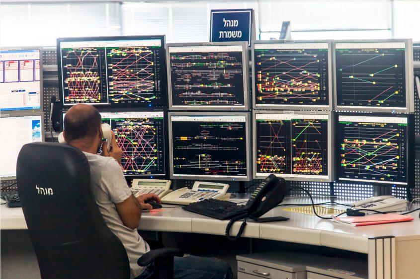 מרכז השליטה של הרכבת. צילום: דוברות הרכבת
