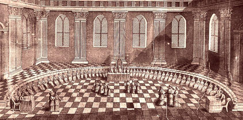 חכמי הסנהדרין ישובים בלשכת הגזית, מתוך מודל בית המקדש הראשון מהמאה ה17- באדיבות ויקיפדיה