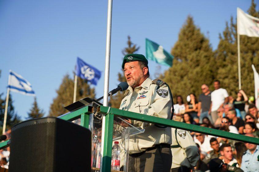 """משמר הגבול מג""""ב ניצב שבתאי בטקס. צילום: דובר צה""""ל"""