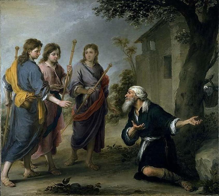 אברהם מפציר במלאכים להתארח בביתו, איור מאת ברטולומיאו אסטבן מורילו 1667, באדיבות ויקיפדיה