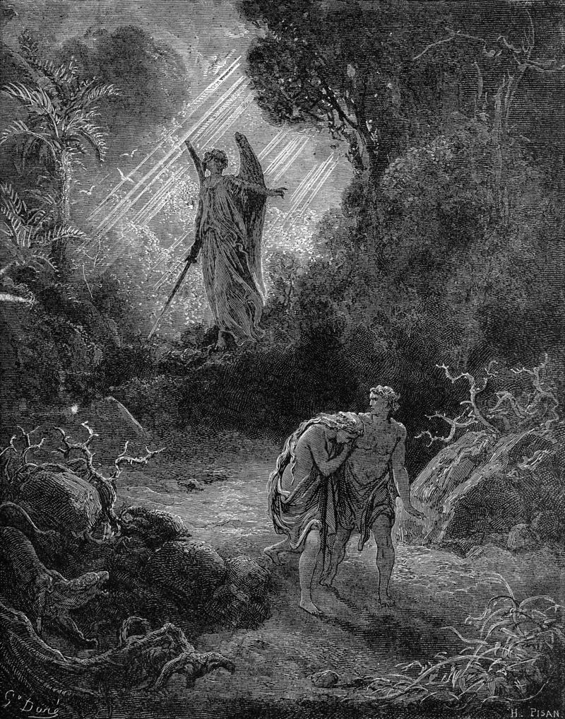 אדם וחוה מגורשים מגן עדן. תחריט מאת גוסטב דורה. איור באדיבות ויקיפדיה