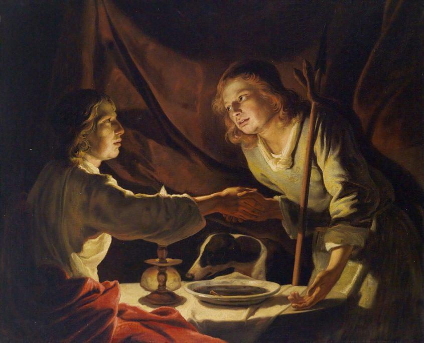 יעקב קונה את הבכורה מעשו בנזיד, ציור מעשה ידי מתיאס שטומר. באדיבות ויקיפדיה