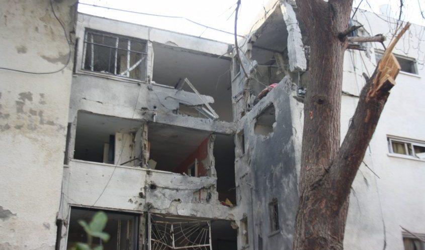הבניין שנפגע בדרום העיר