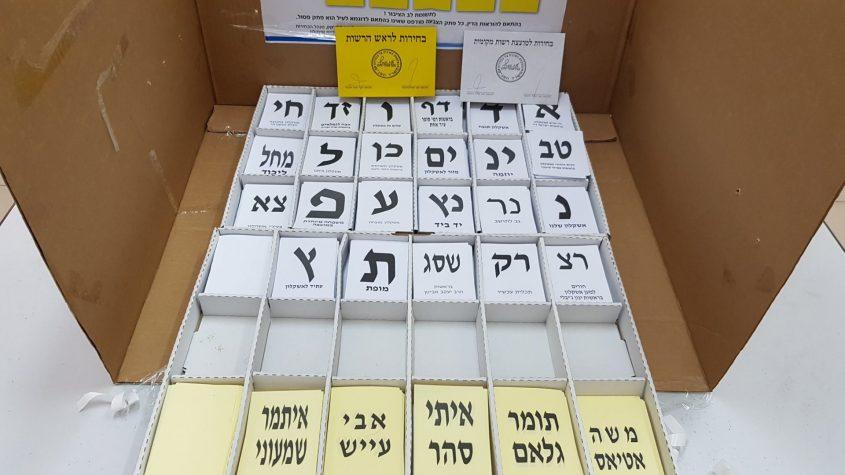 פתקי הצבעה בקלפי באשקלון