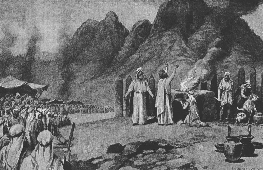 טקס כריתת הברית על המצוות והדינים שבפרשה, איור של ג'ון סטיפל דייויס