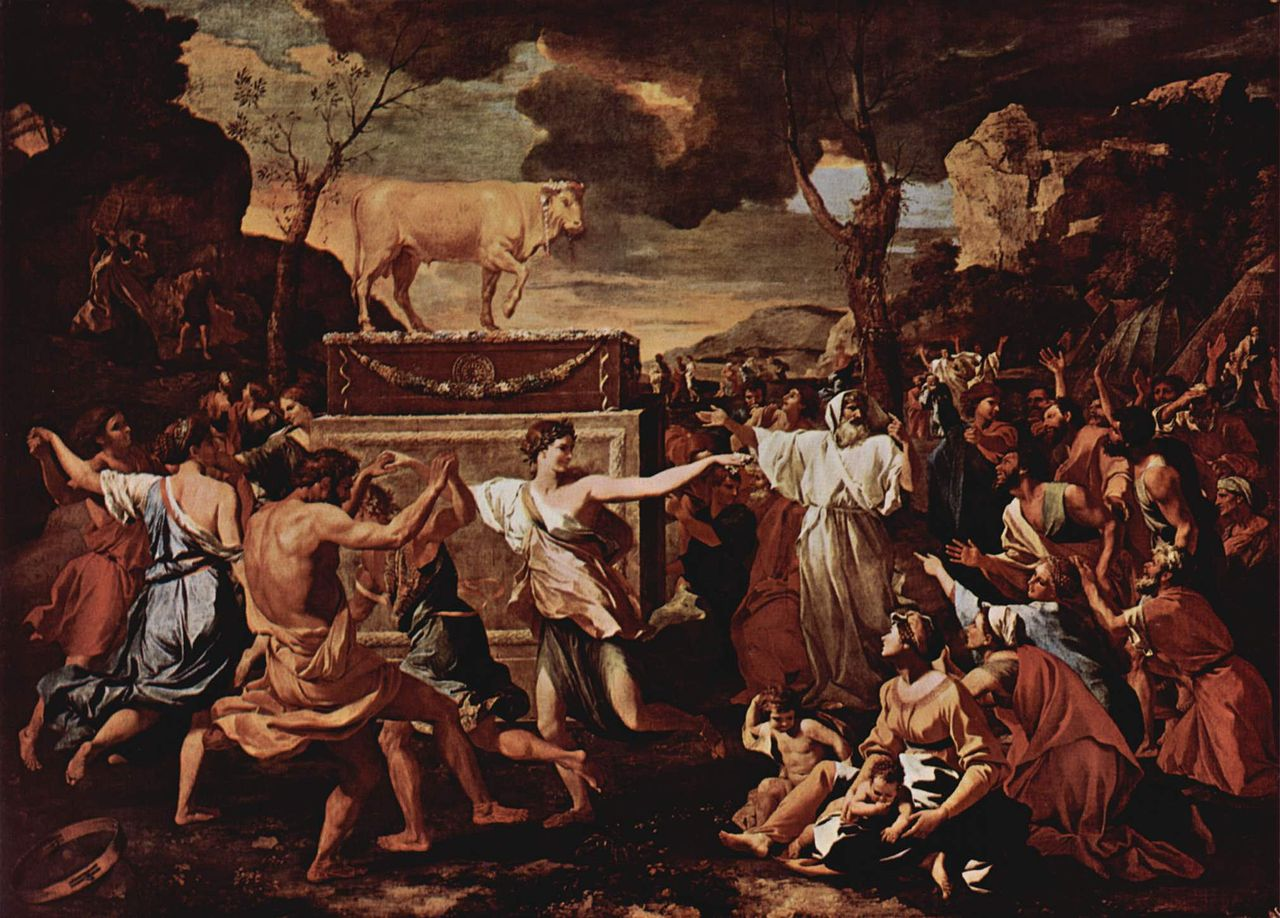 מעשה חטא העגל בציורו של ניקולא פוסן. באדיבות ויקיפדיה