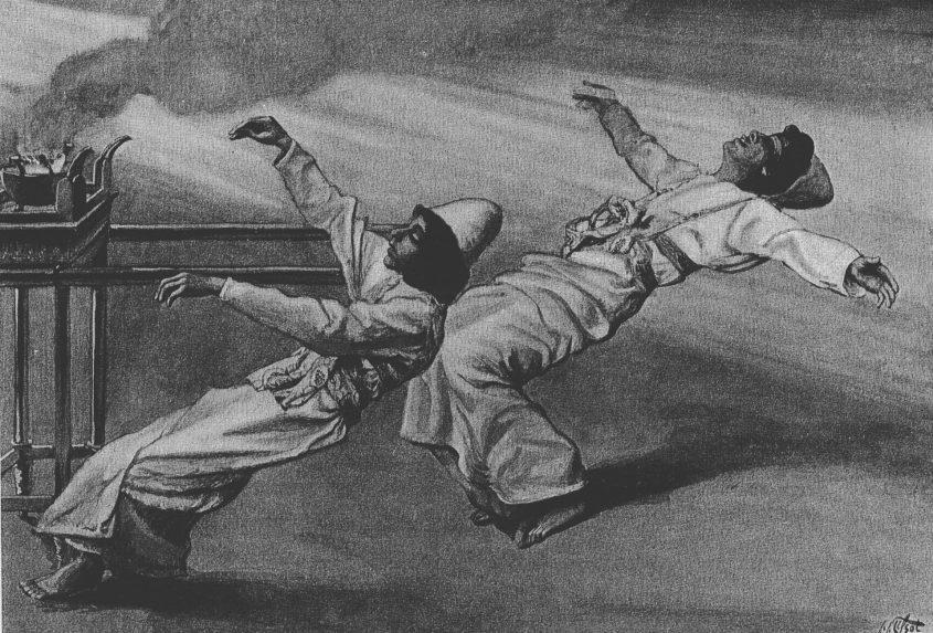 """""""עונש נדב ואביהוא"""", ציור מעשה ידי ג'יימס טיסו משנת 1896"""