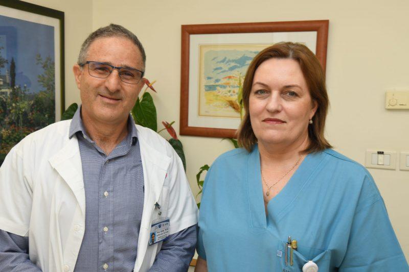 פרופ אייל ענתבי ודר אלה איבשין. קרדיט צילום: דוד אביעוז, צילום רפואי ברזילי