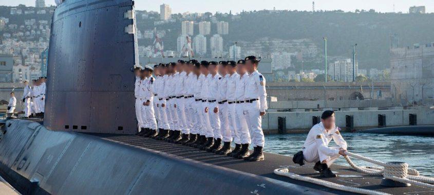 """הצוללת הישראלית מול חיפה. צילום: דו""""צ"""