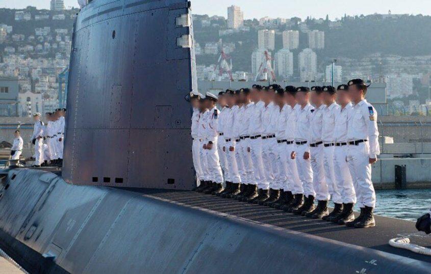 """הצוללת הישראלית מול חיפה. צילום: דובר צה""""ל"""