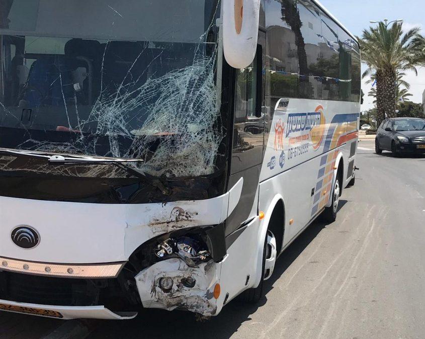האוטובוס לאחר שהתנגש בעץ. צילום: ניסים קסנטיני