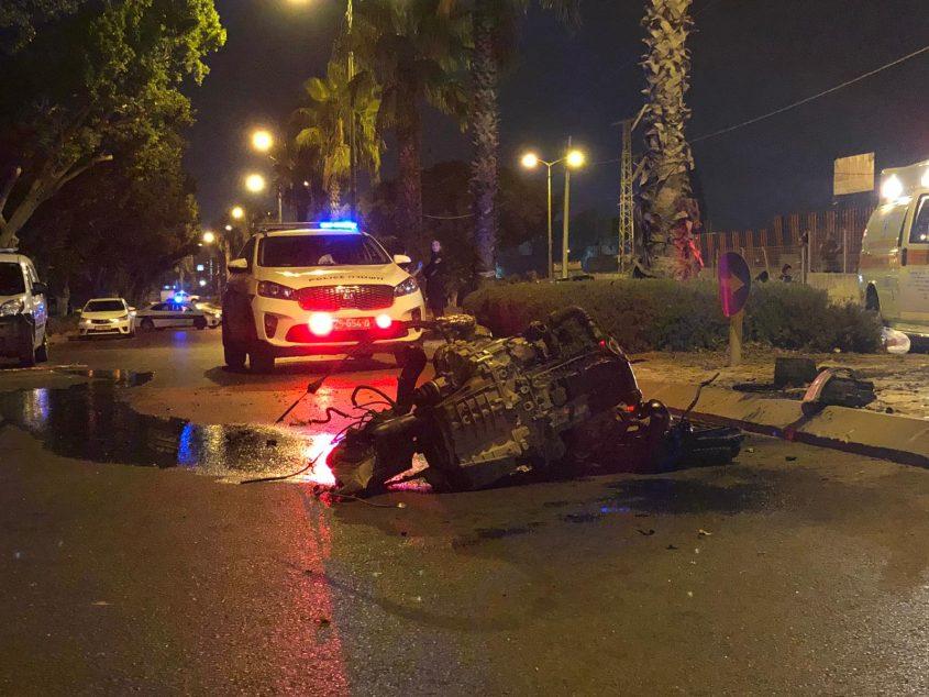זירת התאונה הקטלנית. מי האשם? צילום: דוברות המשטרה