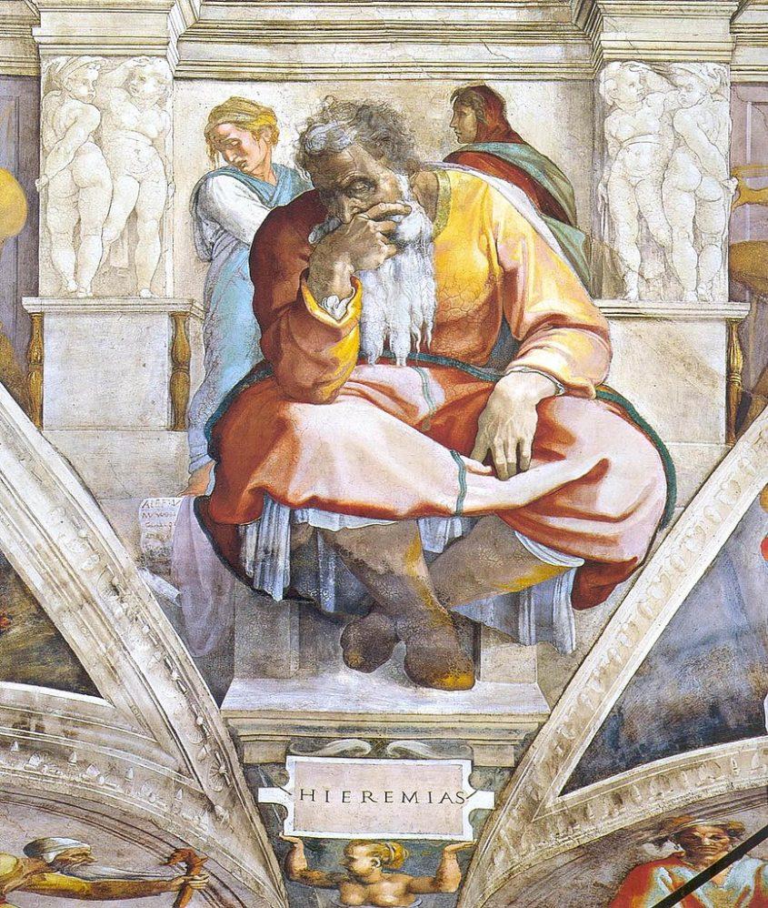 הנביא ירמיהו, מתוך פרסקו מאת מיכלאנג'לו בתקרת הקפלה הסיסטינית-מתוך ויקיפדיה