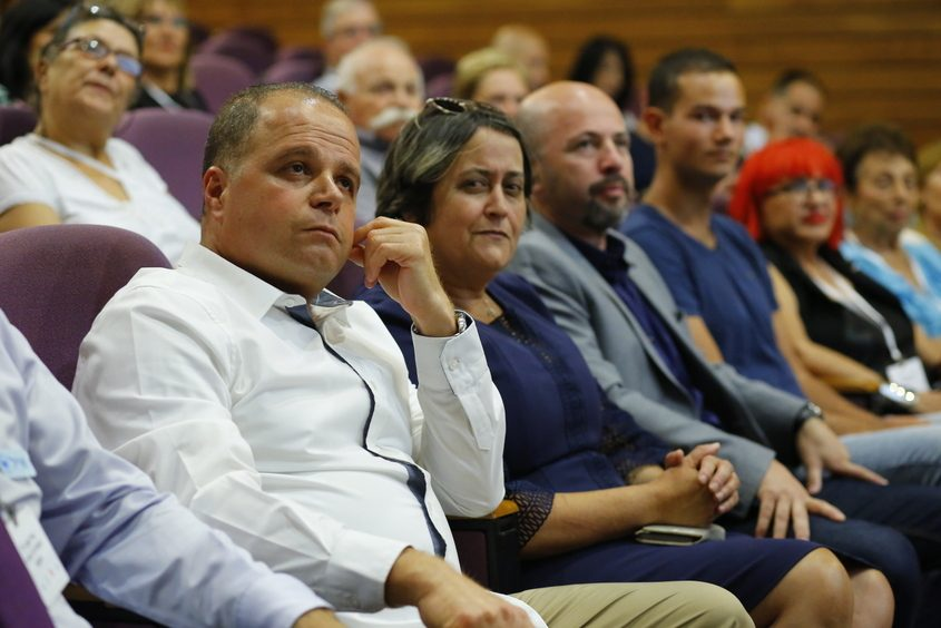 גלאם, בן דוד ומנור בוועידת החינוך של ערי ישראל שהתקיימה באשקלון. צילום: פבל