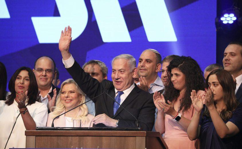 בנימין נתניהו בנאום לאחר קבלת תוצאות הבחירות. צילום: עופר וקנין