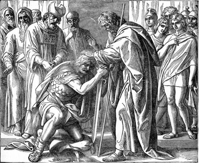 משה ממנה את יהושע ליורשו. איור: Henry Davenport Northrop / ויקיפדיה