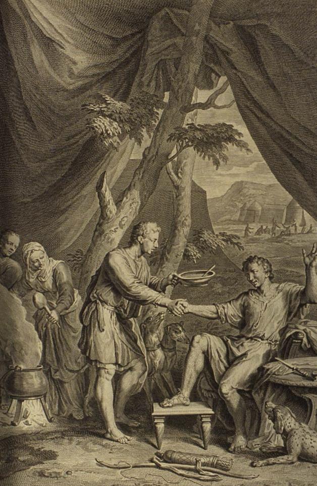 עשו מוכר ליעקב את הבכורה עבור נזיד עדשים, מאת ז'ראר הואט, 1728. מתוך ויקיפדיה