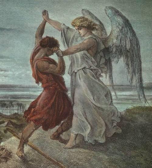 יעקב נאבק עם המלאך יצירתו של גוסטבו דורה. איור מתוך ויקיפדיה