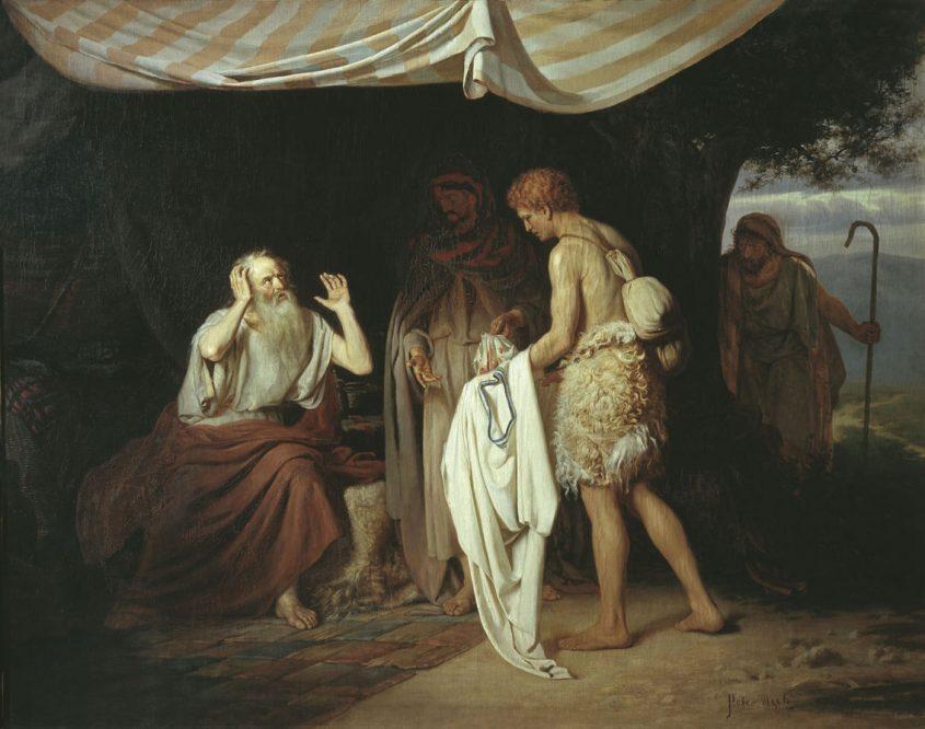 בניו של יעקב מביאים לפניו את כתונתו של יוסף. מתוך ויקיפדיה