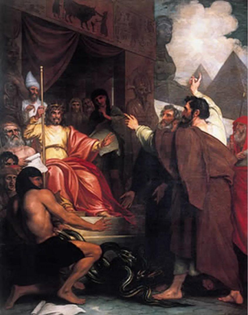 משה ואהרן לפני פרעה, ציור של בנג'מין וסט. מתוך ויקיפדיה