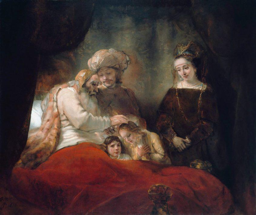 יעקב מברך את אפרים ומנשה לצד יוסף ואסנת. ציור מאת רמברנדט, 1656.
