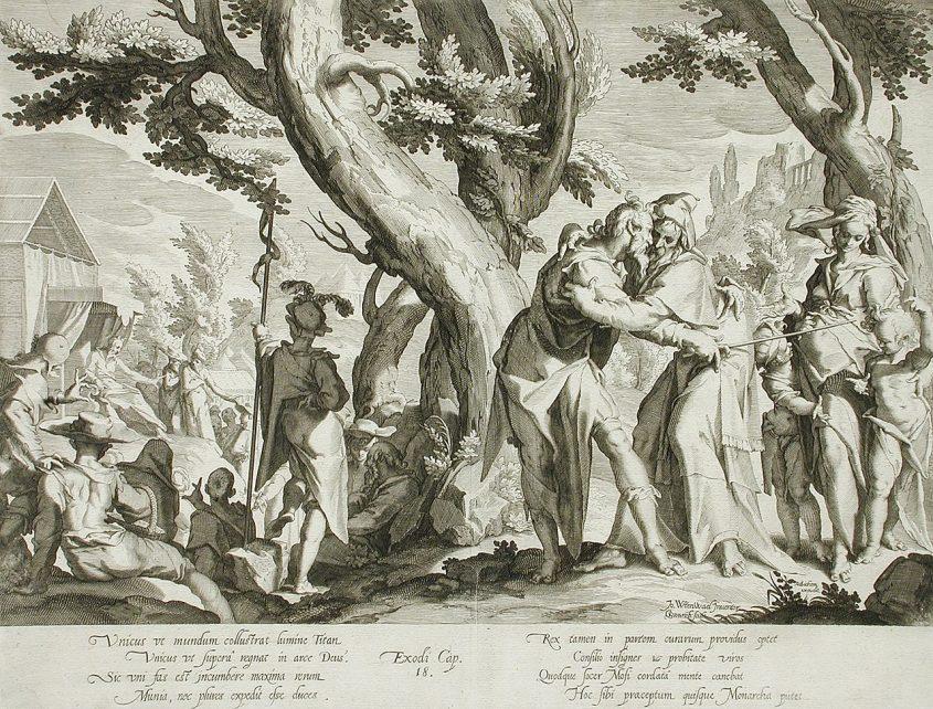 יתרו מגיע עם ציפורה וילדיה לפגוש את משה ובני ישראל. מתוך ויקיפדיה