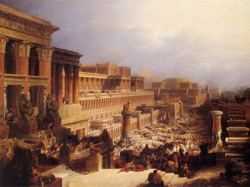 בני ישראל יוצאים ממצרים. ציור מאת דייוויד רוברטס משנת 1828. מתוך ויקיפדיה