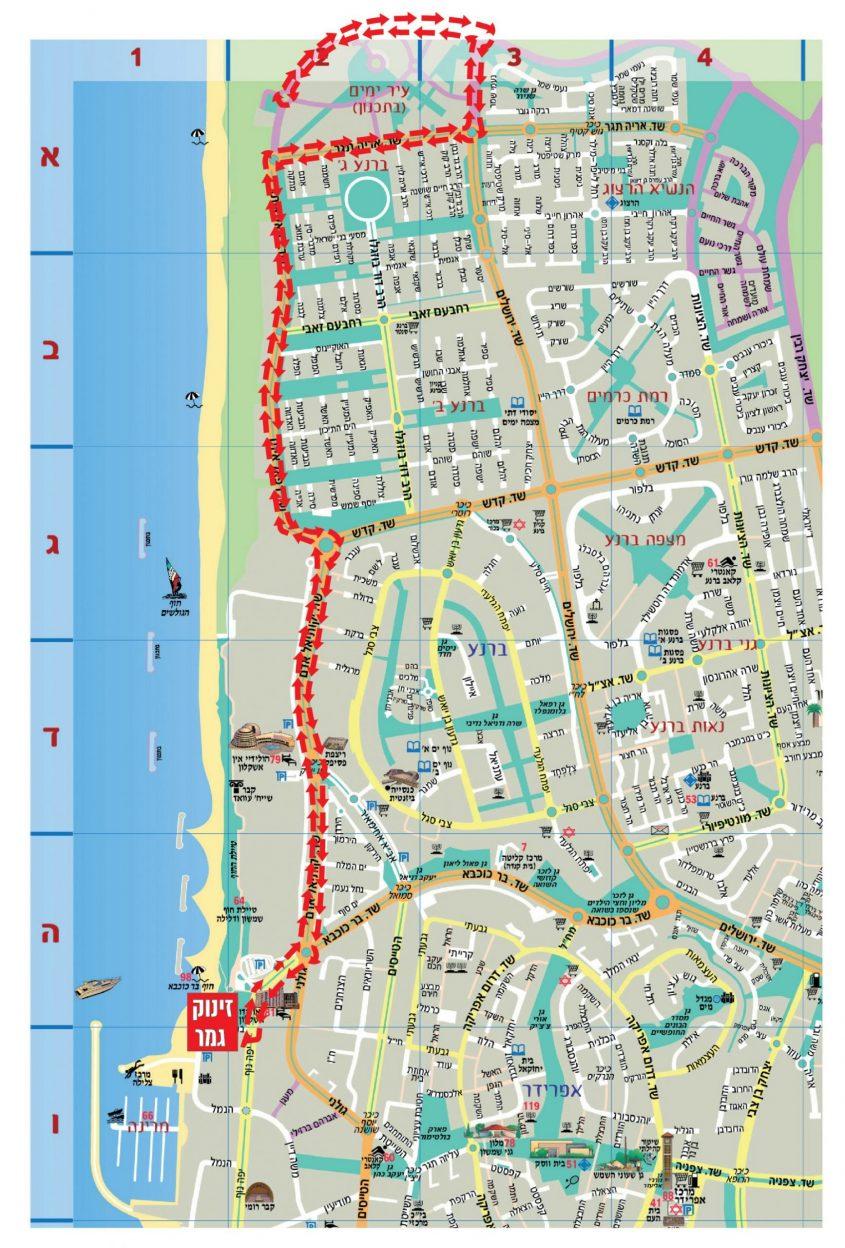 מפת הכבישים שיסגרו במהלך תריאטלון אשקלון 2020