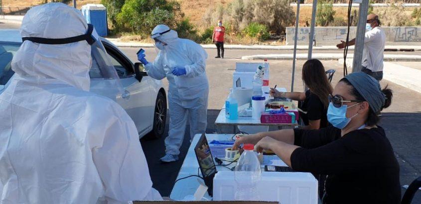 מתחם בדיקות קורונה של שירותי בריאות כללית. צילום: שירותי בריאות כללית