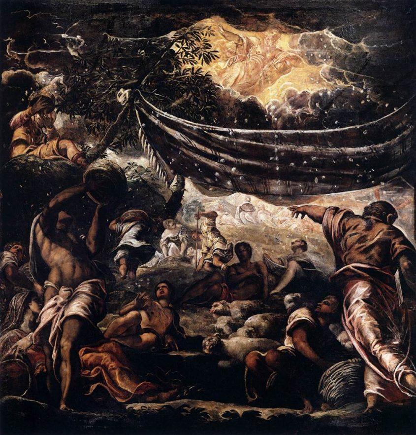 המן יורד מהשמים. מאת טינטורטו. מתוך ויקיפדיה