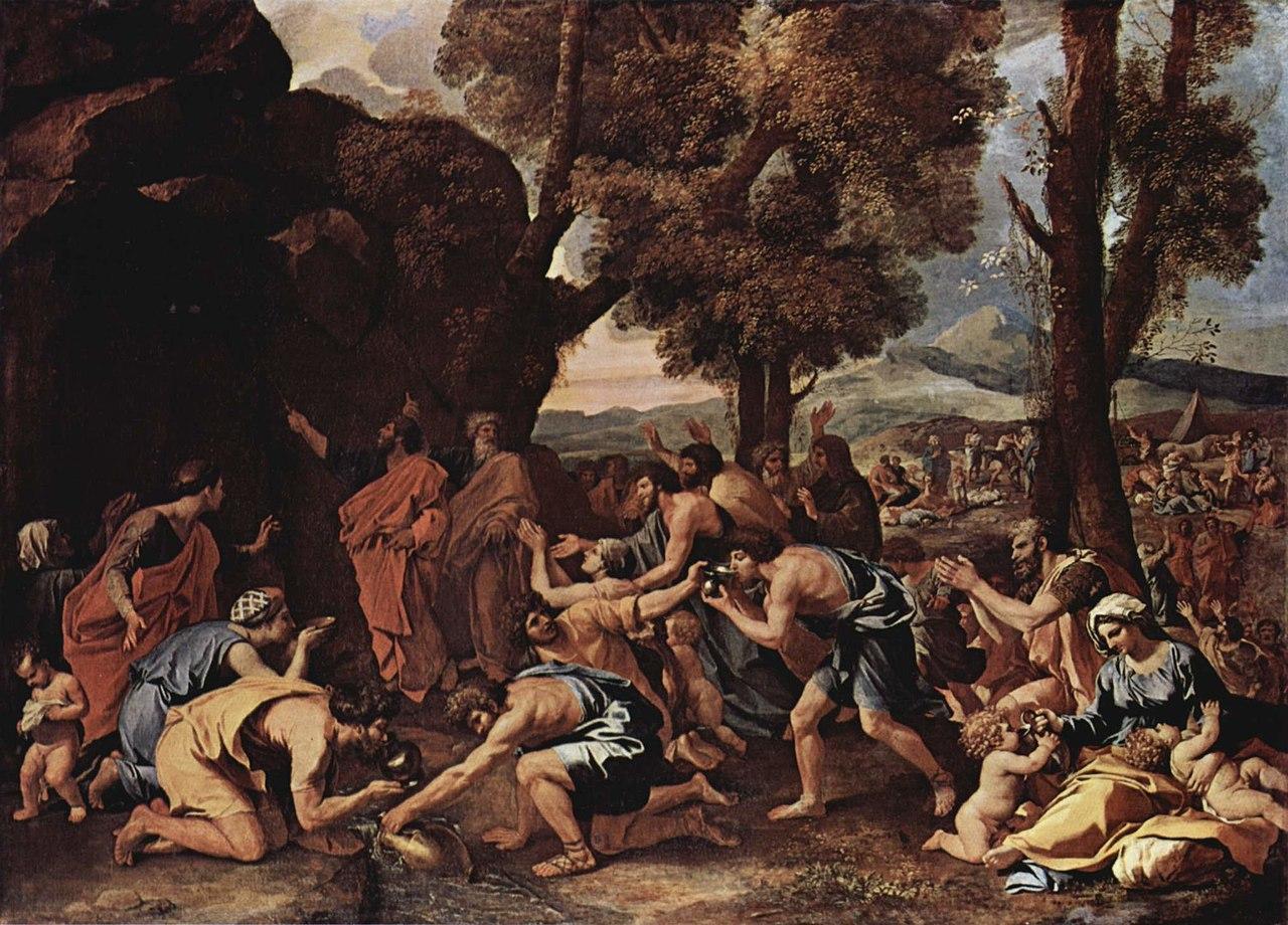 משה מכה בסלע, ציור מאת ניקולא פוסן