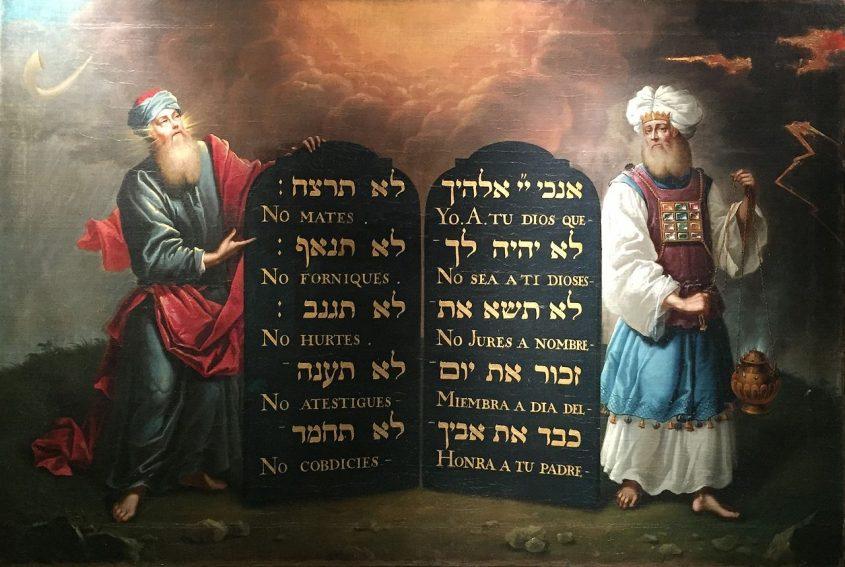 משה ואהרון עם עשרת הדברות. ציור של אהרון דה צ'בס משנת 1674