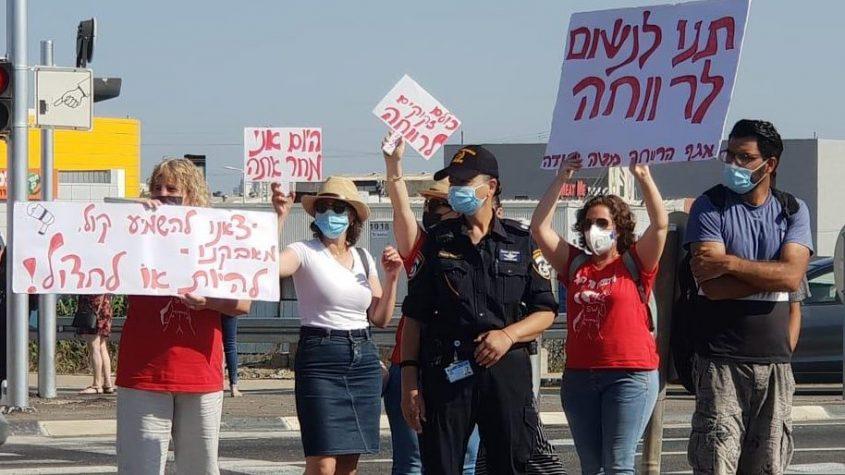 מחאת העובדים הסוציאליים בצומת אשקלון