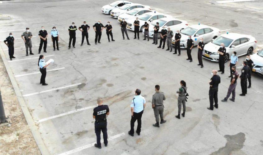 תדרוך משטרתי לפני יציאה למבצע. צילום: משטרת ישראל