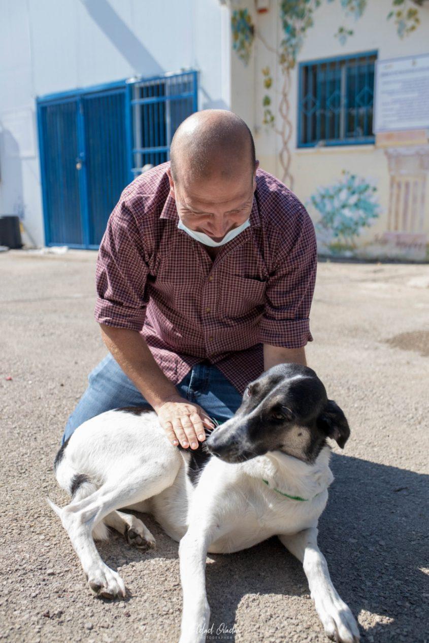 """הווטרינר העירוני ד""""ר שפירו עם כלב. צילום: אלדד עובדיה"""