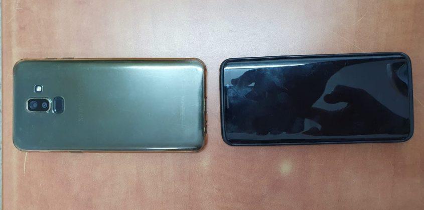 שני הטלפונים שנשדדו ונתפסו ברשותו של החשוד. צילום: דוברות המשטרה