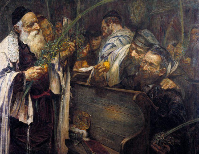 יהודים מתפללים עם ארבעת המינים. מאת לאופולד פיליצ'ובסקי. מתוך ויקיפדיה