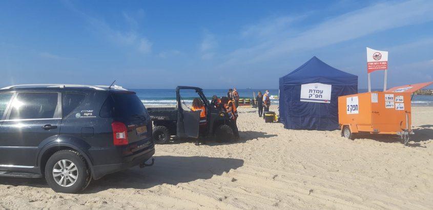 תרגיל זיהום ים מול חופי אשקלון. צילום: איגוד ערים לאיכות הסביבה, נפת אשקלון