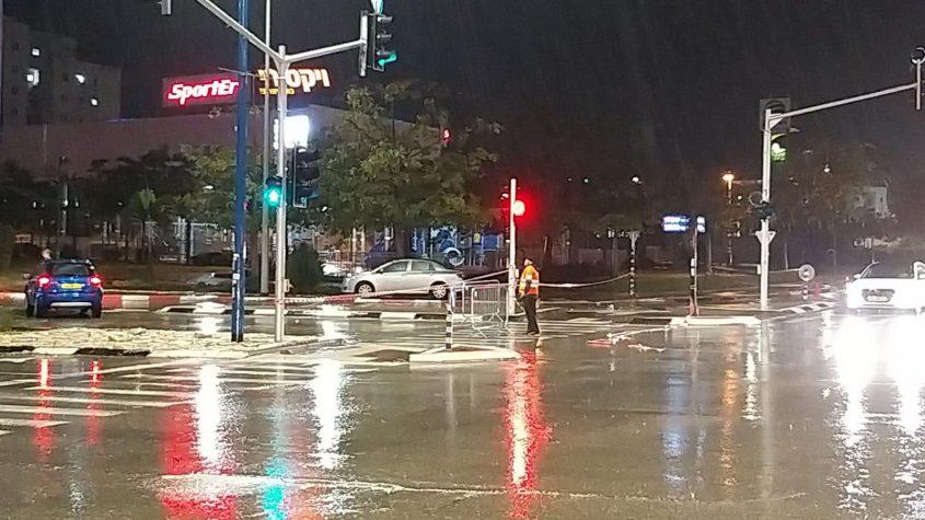 כביש רבין חסום. צילום דוברות עיריית אשקלון