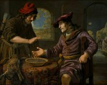 עשו מוכר ליעקב את בכורתו תמורת נזיד עדשים. ציור מאת יאן ויקטורס. מתוך: ויקיפדיה