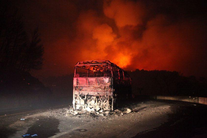 אוטובוס הצוערים באסון הכרמל. צילום: ירון קמינסקי