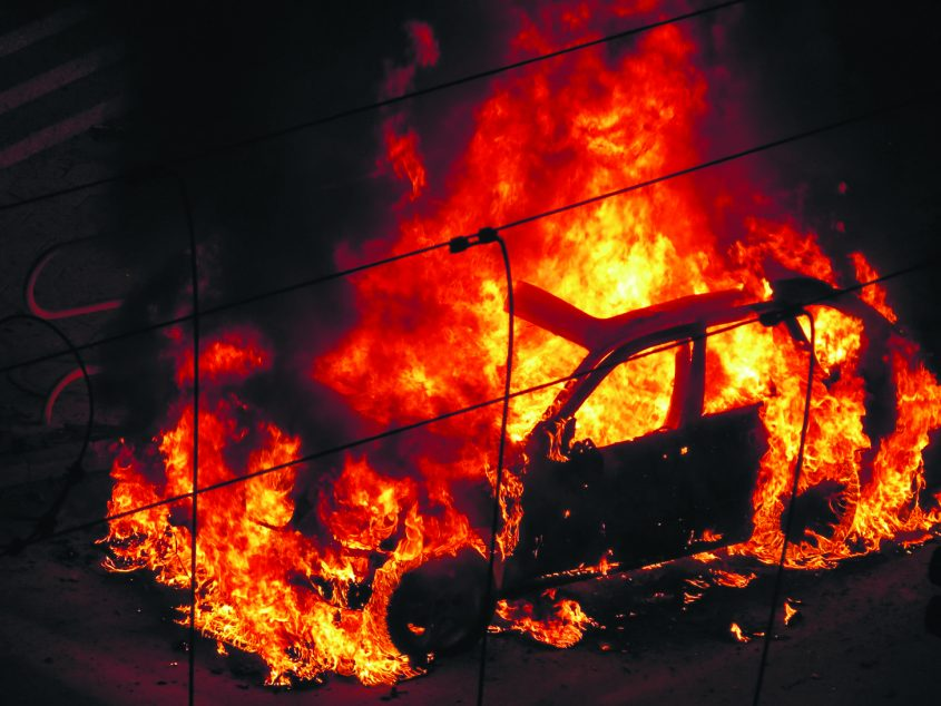 הרכב של לאחר פיצוץ המטען. צילום: ליזה ללוצשווילי דיאל תקשורת