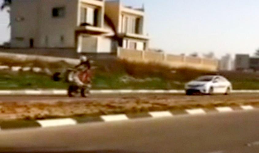 הטרקטורון בורח מהמשטרה. מתוך הסרטון