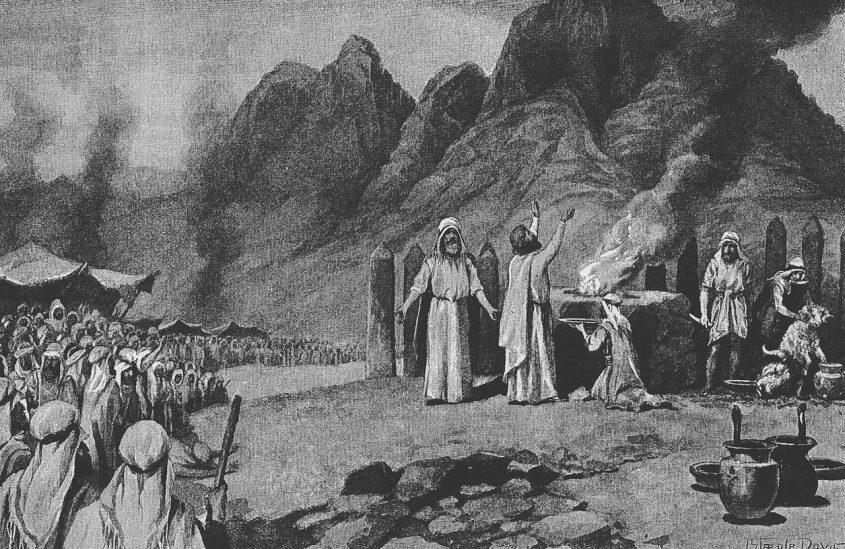 טקס כריתת הברית על המצוות והדינים שבפרשה, איור של ג'ון סטיפל דייוויס