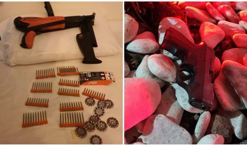 כלי נשק שנמצאו בדירת המסתור והרכבים. צילום: דוברות המשטרה