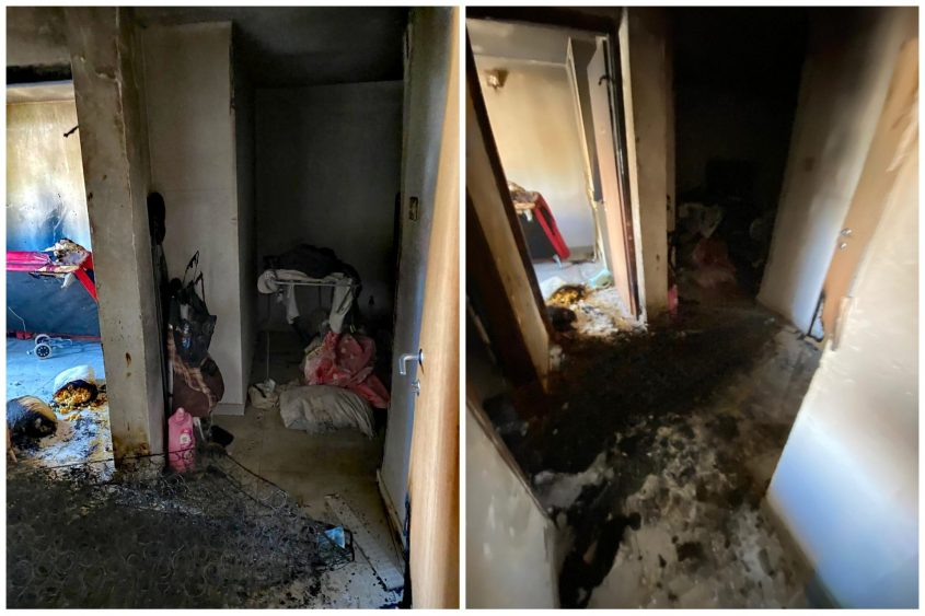 מתוך הדירה ביהודה הלוי. צילום: תיעוד מבצעי כבאות והצלה